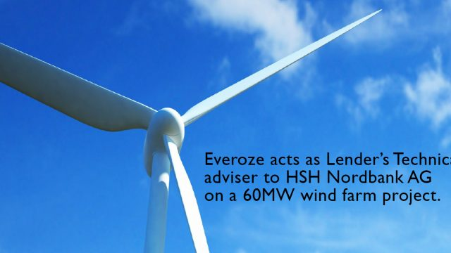Everoze acts as Lender's Technical adviser to HSH Nordbank AG on a 60MW wind farm project
